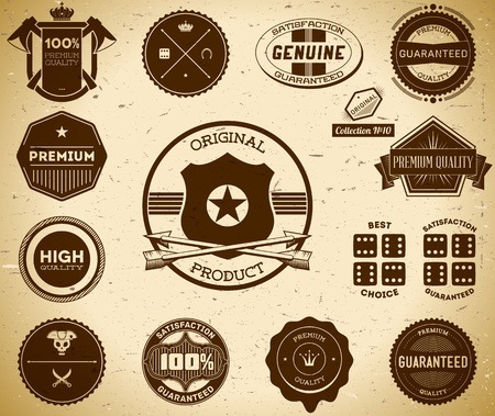 Set of vintage labels on the cardboard. Collection 10 Vector