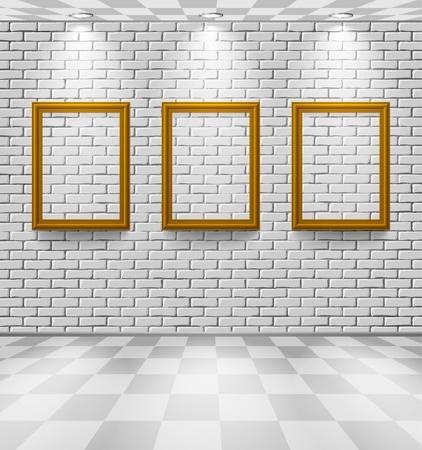 Weiße Ziegel Zimmer mit Frames