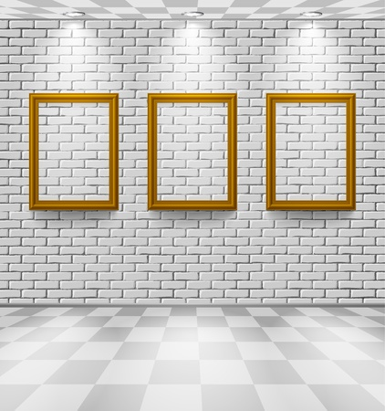 White brick room with frames Vector