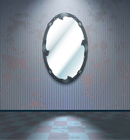 painted wall: Cold room with miror Illustration