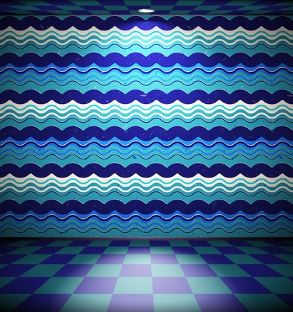 Room with wavy wallpaper Vector