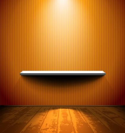 �tag�re bois: Chambre avec plateau et le plancher en bois Illustration