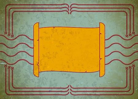 nautic: Nautic scroll frame on the aged cardboard Illustration