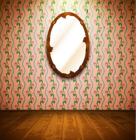 craquelure: Salle de cru avec miroir et papier peint � fleurs Illustration