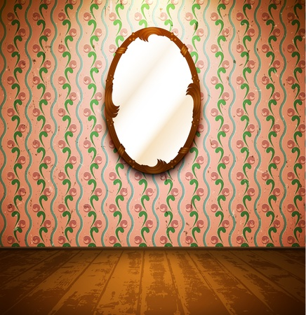 Vintage room with mirror and floral wallpaper Stock Vector - 13505834