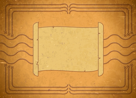 Yellow aged frame with scroll and ropes Vector