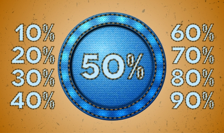 Set of seam discount percents for jeans label Vector