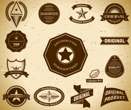 Set of vintage Premium Quality labels. Collection 11 Vector