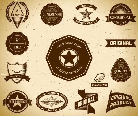 shield logo: Set of vintage Premium Quality labels. Collection 11