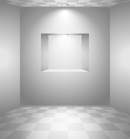 niche: White room with checked floor and niche