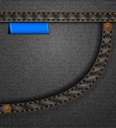 Schwarze Jeans-Tasche mit blauen genähten Etikett Illustration