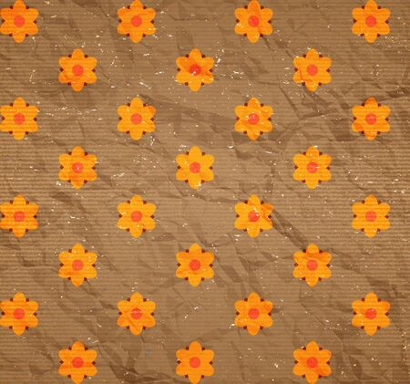 Crumpled and scratched cardboard with floral print Vector