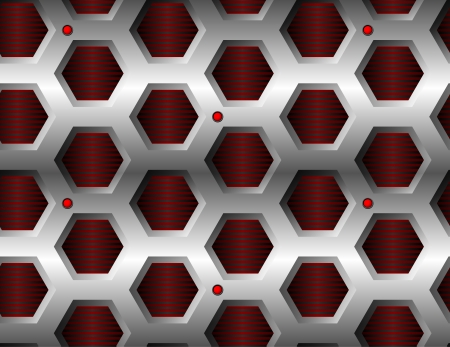 Seamless hexagonal metal pattern with red lamps Vector