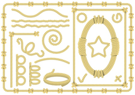 Set of rope templates for frames, borders and signs Illustration