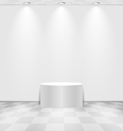 White lightened room with round stage and checked floor Illustration