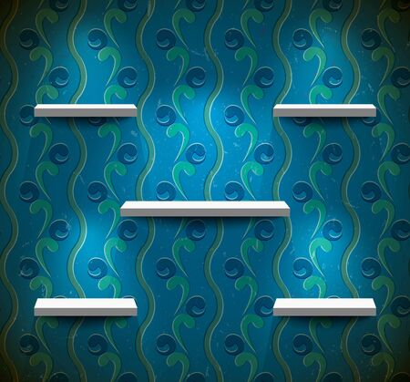 expansive: Five lightened shelves on the blue wall with floral wallpaper