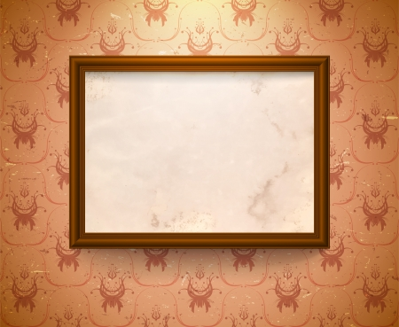 art gallery interior: Vintage frame on the wall with aged floral wallpaper Illustration