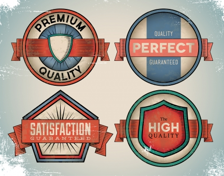 Set of weathered vintage premium quality labels Vector