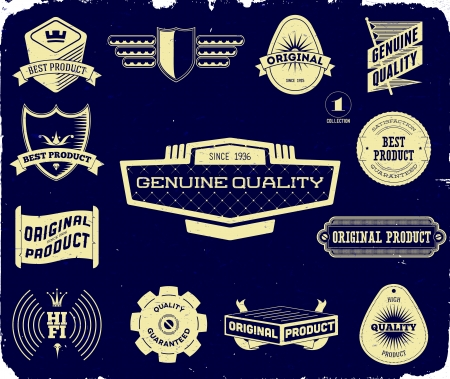 Set of vintage Premium Quality labels on the black. Collection 1 Stock Vector - 13907759