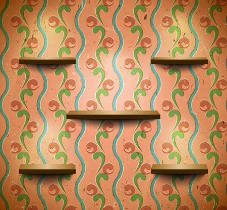Checked wooden shelves on the scratched wall Vector