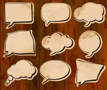 Vintage speech bubbles cut out of aged paper Stock Vector - 13907766