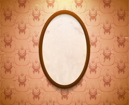 Elliptic wooden frame on the wall with aged wallpaper Vector