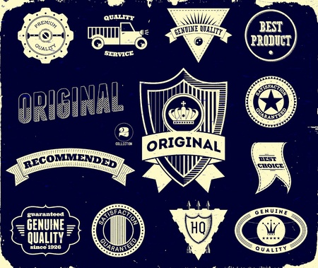Set of vintage labels on the black. Collection 2 Stock Vector - 13969735