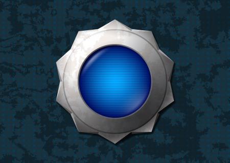 Shiny metal star button Stock Vector - 14287971