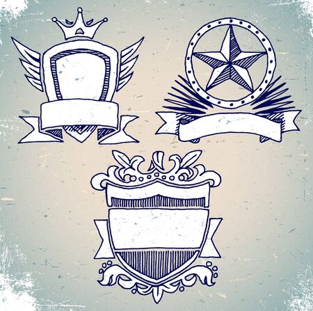 Set of hand drawn shield labels Vector