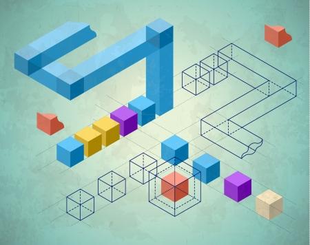 Zusammenfassung Infografiken mit Würfeln und verdrahtet Strukturen