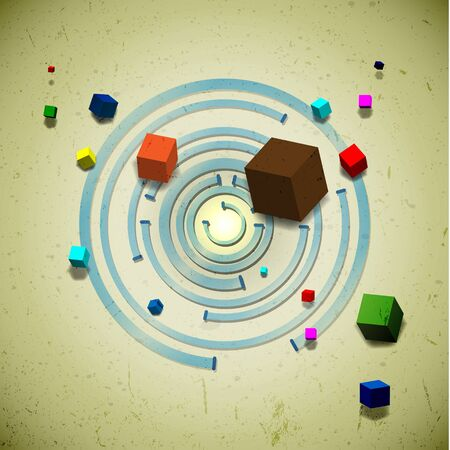 Abstract flying cubes over the concentric circles Vector