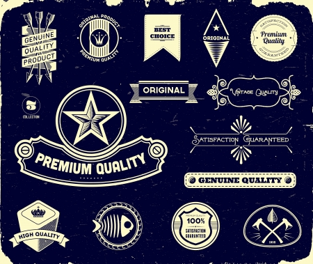 Set of vintage labels on the black. Collection 3 Vector