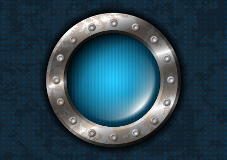 Blue round lamp with metal frame and rivets Vector