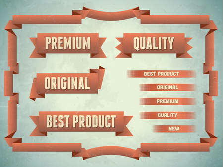 Set of vintage premium quality original ribbons Vector