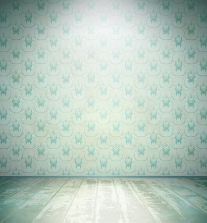 Aged room with wooden floor and floral wallpaper Vector