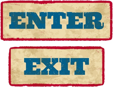 Aged retro enter and exit sign boards Vector