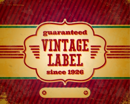 Aged vintage label with shifted colors on the cardboard