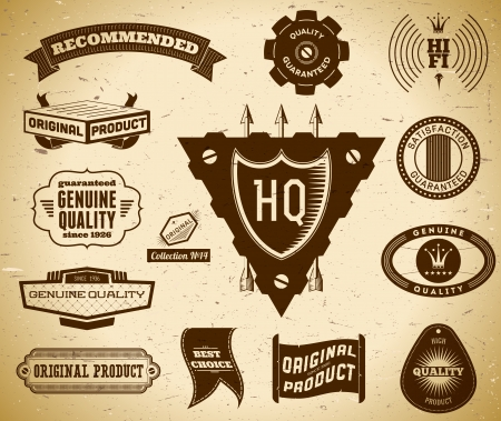 Set of vintage labels on the cardboard. Collection 14 Vector