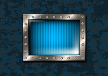 metal frame: Blue rectangular window with metal frame and rivets