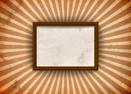 Frame with blank paper on the grungy sun rays Vector