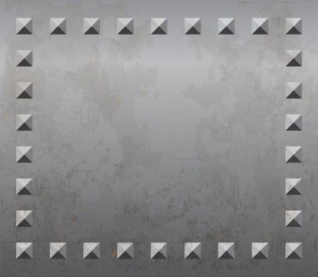 Old rusty metal plate background with rivets Vector