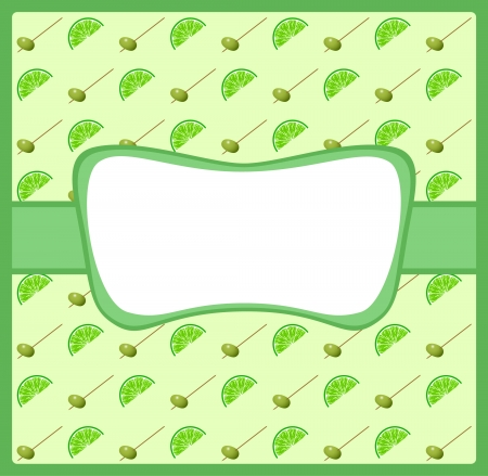 Green vintage lace frame with cocktail pattern Vector