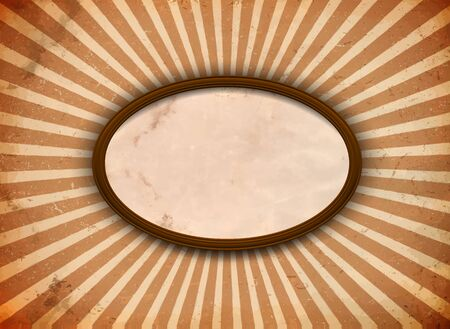 distressed paper: Elliptic frame with blank paper on the grungy sun rays