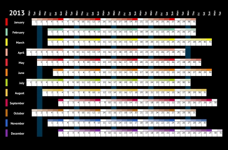 Black linear calendar 2013 with days and months color coding Stock Vector - 15131111