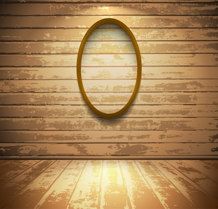 Light wooden room with empty elliptic frame Vector