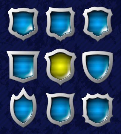 antivirus: Set of nine steel glossy lightened shields