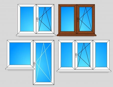 설치: 개방 방식에 창 템플릿 집합 일러스트