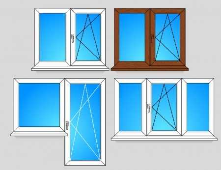 wooden window: Set of window templates with opening scheme