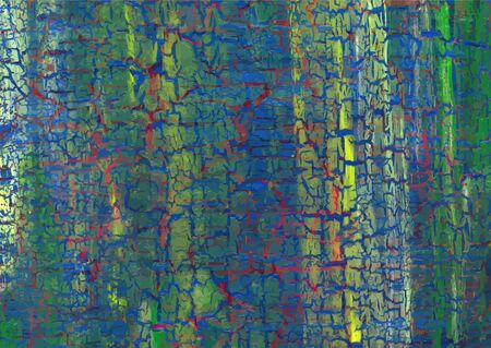 craquelure: Acrylic craquelure background with yellow lines and red cracks