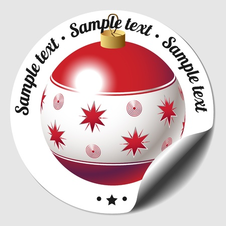 babble: Christmas round sticker with blue and red bauble
